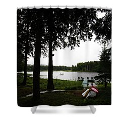 Shower Curtain featuring the photograph View Of The Pond by David Patterson