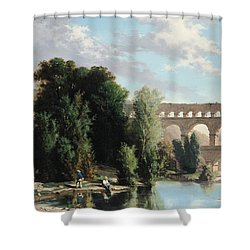View Of The Pont Du Gard Shower Curtain by Henri Marie Poinsot