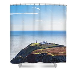View Of The Trails On Howth Cliffs With The Lighthouse In Irelan Shower Curtain by Semmick Photo