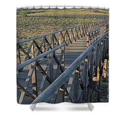 View Of The Wooden Bridge In Quinta Do Lago Shower Curtain