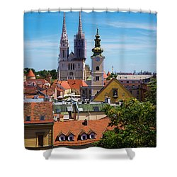 View Of Zagreb Shower Curtain by Rae Tucker