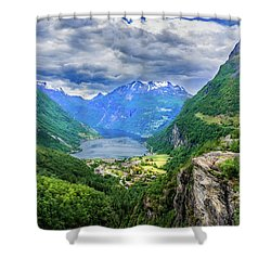 Shower Curtain featuring the photograph View On Geiranger From Flydalsjuvet by Dmytro Korol