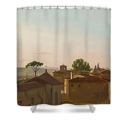 Shower Curtain featuring the painting View On The Quirinal Hill. Rome by Simon Denis