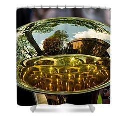 View Through A Sousaphone Shower Curtain