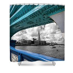 View Through Tower Bridge Shower Curtain by Shirley Mitchell
