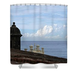 View To The Sea From El Morro Shower Curtain by Lois Lepisto