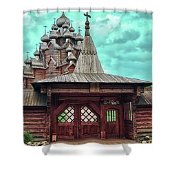 views of Holy gates and Church of the Intercession of the blessed virgin Mary Shower Curtain