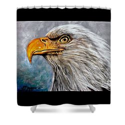 Shower Curtain featuring the painting Vigilant Eagle by Patricia L Davidson