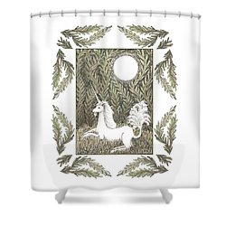 Shower Curtain featuring the drawing Vigilant Unicorn by Lise Winne