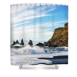 Shower Curtain featuring the photograph Vik Reynisdrangar Beach And Ocean Iceland by Matthias Hauser