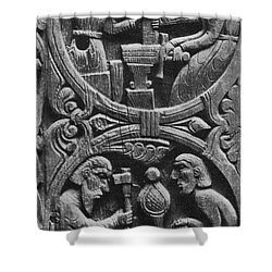 Viking Blacksmiths Forge The Sword Shower Curtain by Photo Researchers