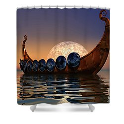 Viking Boat Shower Curtain by Corey Ford