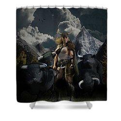 Viking Gefjon Shower Curtain by Andy Renard