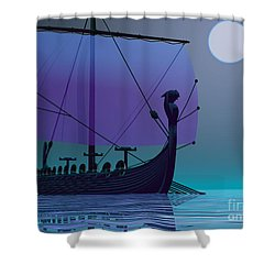 Viking Journey Shower Curtain by Corey Ford