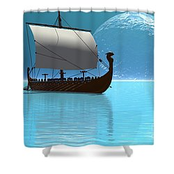 Viking Ship 2 Shower Curtain by Corey Ford