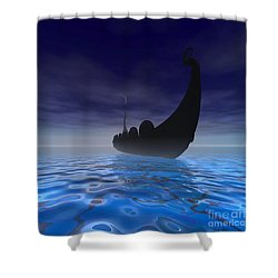 Viking Ship Shower Curtain by Corey Ford