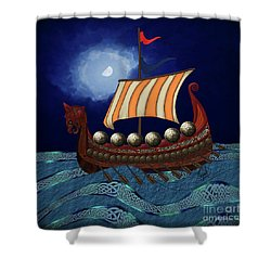 Shower Curtain featuring the digital art Viking Ship by Megan Dirsa-DuBois