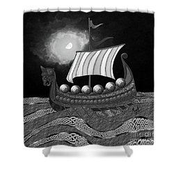 Shower Curtain featuring the digital art Viking Ship_bw by Megan Dirsa-DuBois
