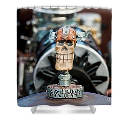 Shower Curtain featuring the photograph Viking Skull Hood Ornament by Chris Dutton
