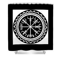Shower Curtain featuring the digital art Viking Vegvisir Compass by Vagabond Folk Art - Virginia Vivier