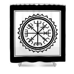 Shower Curtain featuring the digital art Viking Vegvisir Protection Compass by Vagabond Folk Art - Virginia Vivier