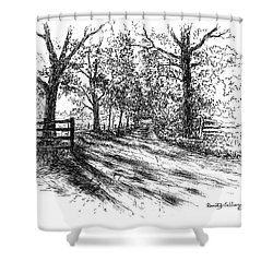 Villa Road At Sunset Shower Curtain