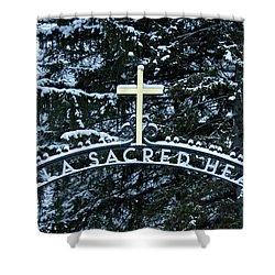 Shower Curtain featuring the photograph Villa Sacred Heart Winter Retreat Golden Cross by John Stephens