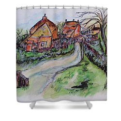 Village Back Street Shower Curtain by Clyde J Kell