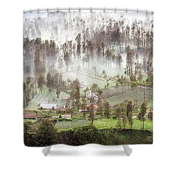 Village Covered With Mist Shower Curtain