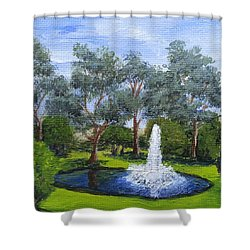 Village Fountain Shower Curtain