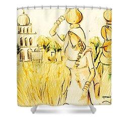 Punjabi Village Girls  Shower Curtain
