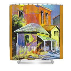 Shower Curtain featuring the painting Village Glow by Rae Andrews