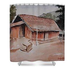 Village Hut Shower Curtain