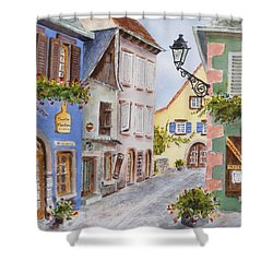 Shower Curtain featuring the painting Village In Alsace by Mary Ellen Mueller Legault
