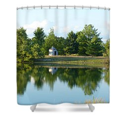 Village In Ohio Shower Curtain by Donald C Morgan