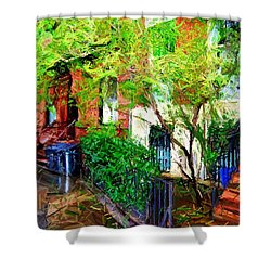 Village Life Sketch Shower Curtain by Randy Aveille