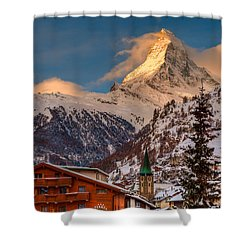 Village Of Zermatt With Matterhorn Shower Curtain