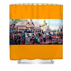 Village Rocket Festival-vintage Painting Shower Curtain