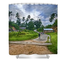 Shower Curtain featuring the photograph Village Scene by Charuhas Images