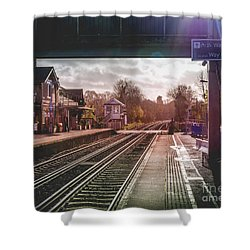 The Village Train Station Shower Curtain