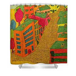 Village With Blue Sliver Moon Shower Curtain