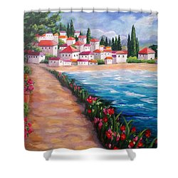 Villas By The Sea Shower Curtain