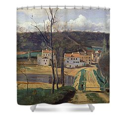 Ville Davray Shower Curtain by Jean Baptiste Camille Corot