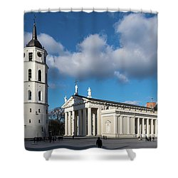 Vilnius Bell Tower And Cathedral Shower Curtain