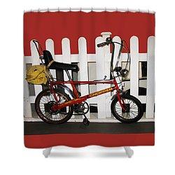Vintage 1970s Bike With Rucksack  Shower Curtain