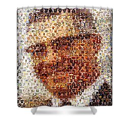 Vince Lombardi Green Bay Packers Mosaic Shower Curtain by Paul Van Scott