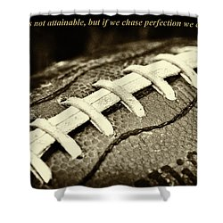 Vince Lombardi Perfection Quote Shower Curtain by David Patterson