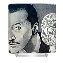 Shower Curtain featuring the painting Vincent Price by Paul Weerasekera