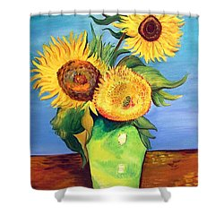 Shower Curtain featuring the painting Vincent's Sunflowers by Patricia Piffath