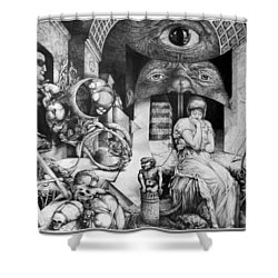 Vindobona Altarpiece IIi - Snakes And Ladders Shower Curtain by Otto Rapp